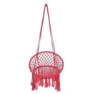 كرسى ارجوحة قطن بحامل معدنى، 60×130 سم - احمر