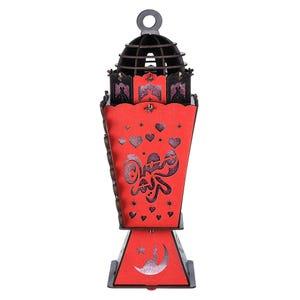فانوس خشب شكل برج، 45×15 سم - احمر اسود